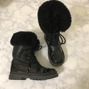 Coach Leonora Black Embossed Fur Lace Up Boots